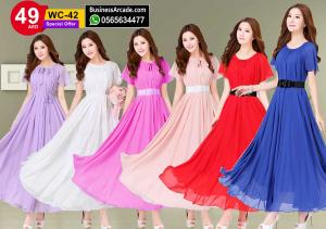 Red Color Womens Fashion Bohemian Beach Maxi Chiffon Dress WC-42RD