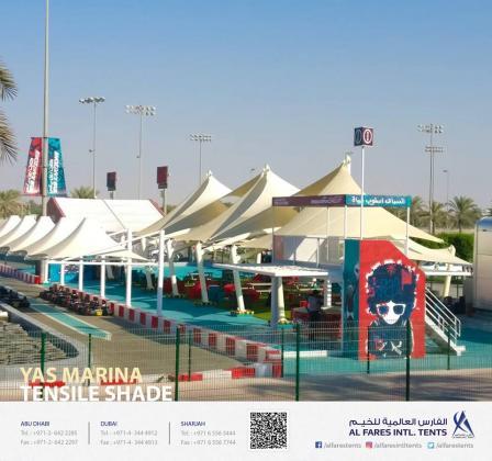 Parking Shades, Tensile Shades, Swimming Pool Shades, Walkway Shades, Play Area Shades, Garden Shades, Roof Shades | Al Fares International Tents-UAE
