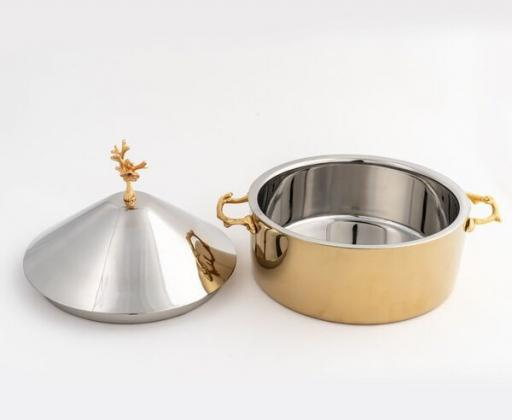 Shop Online Gold Silver Bowl with Lid for Table Setting