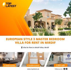 European Style 3 Master Bedroom Villa For Rent in Mirdif